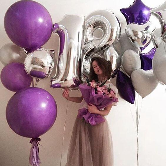 Ассорти шаров Happy Birthday (purple)